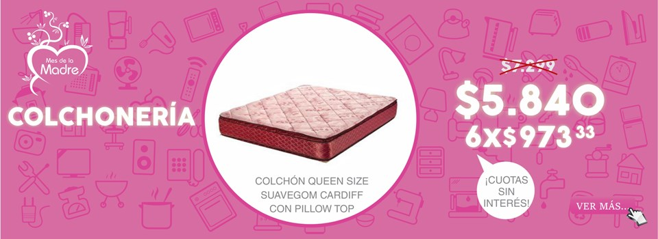COLCHON QUEEN SIZE SUAVEGOM CARDIFF CON PILLOW TOP